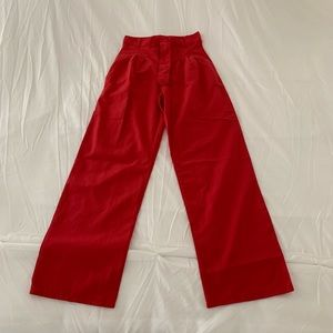 High waisted wide leg red pants
